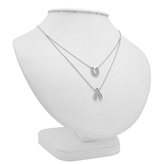 Amanda Rose CZ Lucky Layered Necklace in Sterling Silver a 16-1818 in. Adjustable Chain , Pendants, trend - MLG Jewelry, MLG Jewelry  - 2