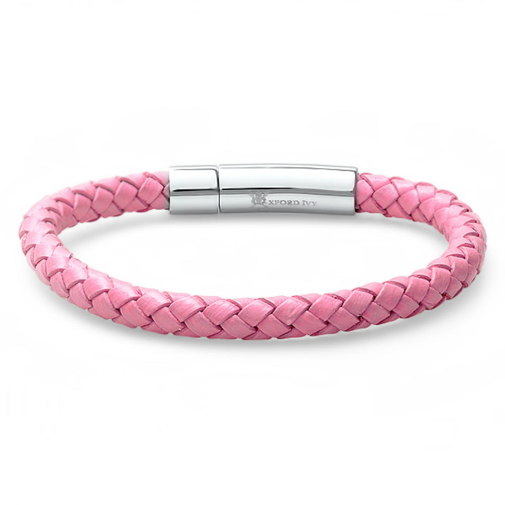 Oxford Ivy Braided Pink Leather 6mm Bracelet with Stainless Steel Locking Clasp 7 1/2 inches , Bracelets - MLG Jewelry, MLG Jewelry