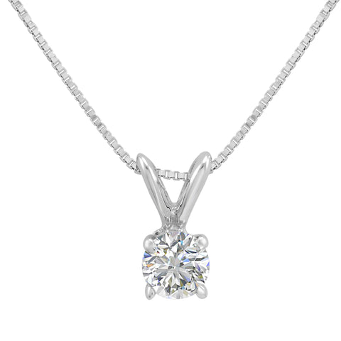 AGS Certified 1/3ct Diamond Solitaire Pendant in 14K White Gold (SI2-I1, 18 inch Box Chain)