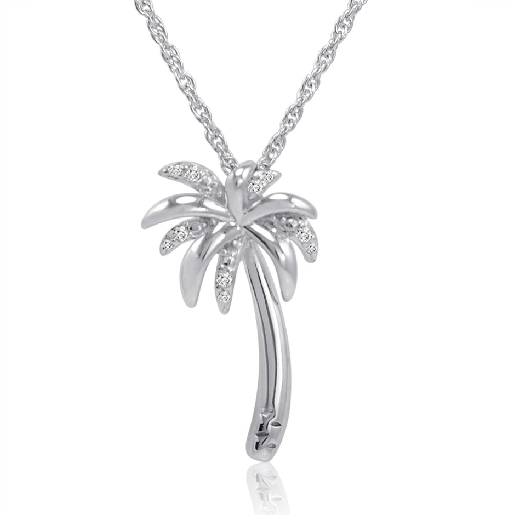 Sterling Silver Diamond Palm Tree Pendant-Necklace on an 18 inch Chain