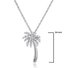Amanda Rose Collection Sterling Silver Diamond Palm Tree Pendant-Necklace on an 18 inch Chain