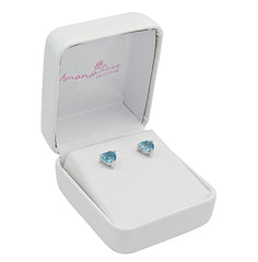 2ct Heart Shape Swiss BlueTopaz Stud Earrings in Sterling Silver 6mm