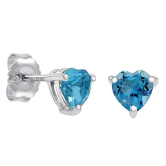 2ct Heart Shape Swiss BlueTopaz Stud Earrings in Sterling Silver 6mm , Earrings - MLG Jewelry, MLG Jewelry  - 1