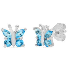 Swiss Blue Topaz  Butterfly Stud Earrings set in Sterling Silver , Gifts Under $99 - MLG Jewelry, MLG Jewelry  - 2