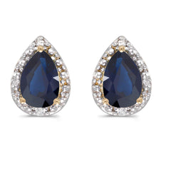 Sapphire and Diamond Earrings set in 14K Gold