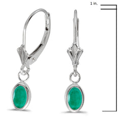 14K White Gold Oval Emerald Bezel Lever-back Earrings (7/8ct tgw)