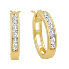 AGS Certified 1/2ct TW Diamond Hoop Earrings in 10K White or Yellow Gold