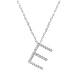 "14K White Gold Diamond ""E"" Initial Pendant, 16"" Necklace , Pendants - MLG Jewelry, MLG Jewelry  - 1"