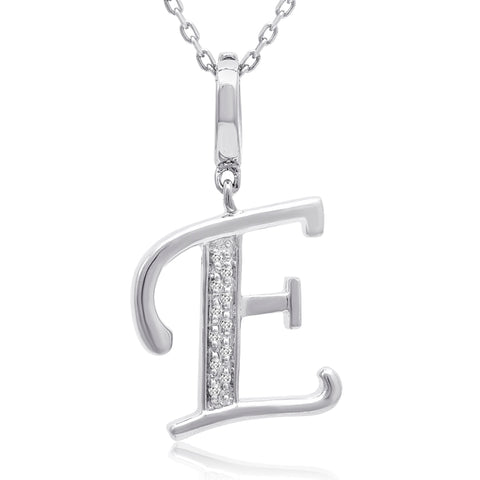 Diamond Initial E Charm Pendant in Sterling Silver on an 18in. Chain