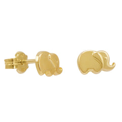 Amanda Rose 14k Yellow Gold Elephant Post Earrings