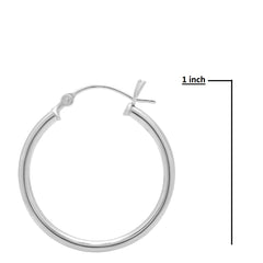 14K Gold 1 inch Diameter Round Hoop Earrings
