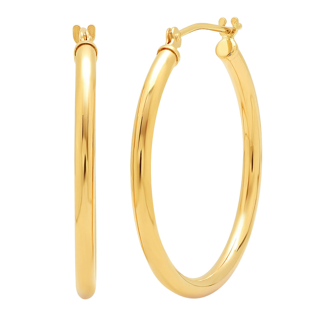 10K Yellow or White Gold 1 inch Round Hoop Earrings