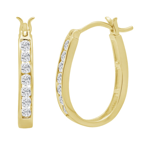 10K Yellow Gold Diamond Hoop Earrings ( 1/2ct tw) AGS Certified