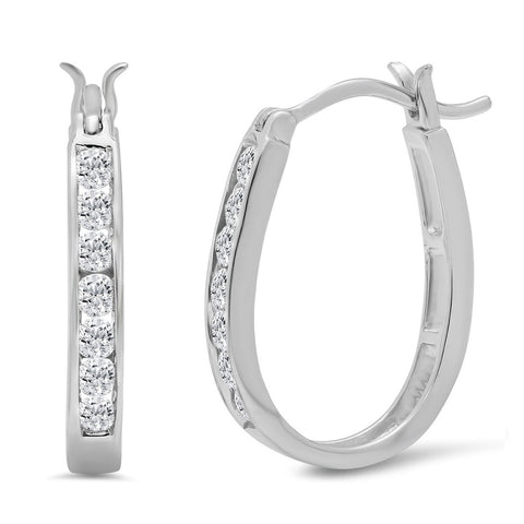 AGS Certified 1/2ct TW Diamond Hoop Earrings Crafted in 10K Gold