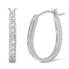 AGS Certified 1/2ct TW Diamond Hoop Earrings in 10K Gold