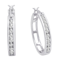 AGS Certified 1ct TW Diamond Hoop Earrings in 10K Yellow or White Gold