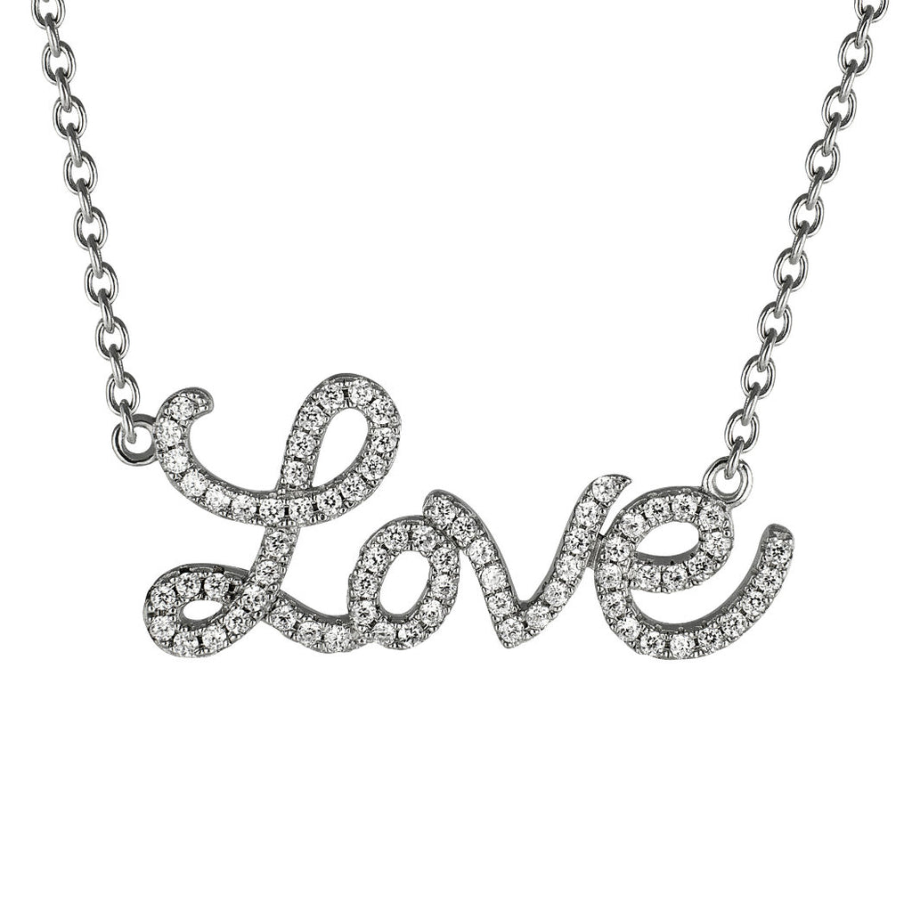 Sterling Silver  LOVE Necklace made with Swarovski Zirconia , pendants - MLG Jewelry, MLG Jewelry  - 1