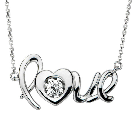 Sterling Silver Gems in Motion  Love Necklace with Swarovski Zirconia