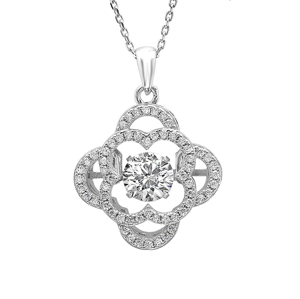 Sterling Silver Gems in Motion Pendant -Necklace made with Swarovski Zirconia