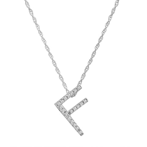 "14K White Gold Diamond ""F"" Initial Pendant, 16"" Necklace"