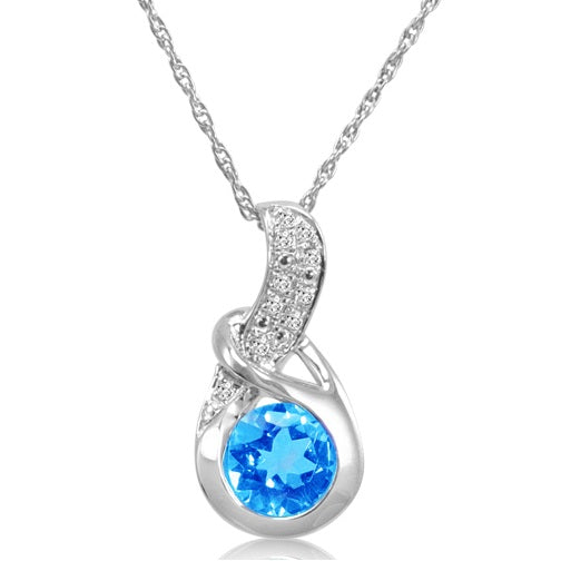 Swiss Blue Topaz and Diamond Pendant in Sterling Silver (1ct tgw, 18inch chain)