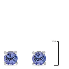 Tanzanite Solitaire Stud Earrings Crafted in Sterling Silver