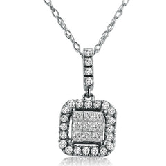"Princess and Round Diamond Invisible Set Necklace in 10K White Gold (.35cttw 18"" chain) , Pendants - MLG Jewelry, MLG Jewelry  - 1"