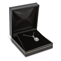 "Princess and Round Diamond Invisible Set Necklace in 10K White Gold (.35cttw 18"" chain) , Pendants - MLG Jewelry, MLG Jewelry  - 3"