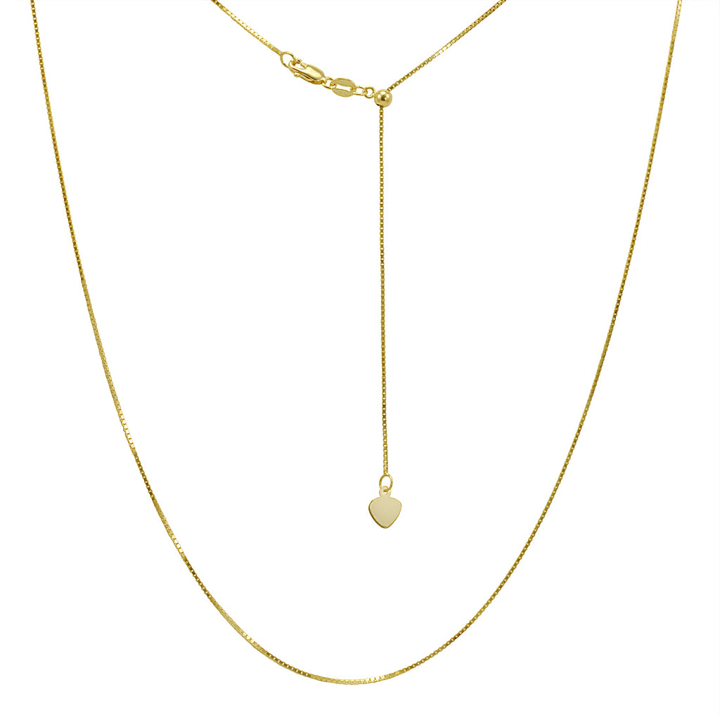 Amanda Rose 14k Yellow Gold Diamond Cut Adjustable Box Chain