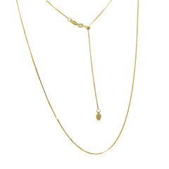 Amanda Rose 14k Yellow Gold Diamond Cut Adjustable Box Chain (22 inches)