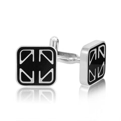 Mens Classic Stainless Steel and Black Enamel Cuff Links , Accessories - MLG Jewelry, MLG Jewelry  - 2