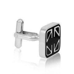 Mens Classic Stainless Steel and Black Enamel Cuff Links , Accessories - MLG Jewelry, MLG Jewelry  - 3