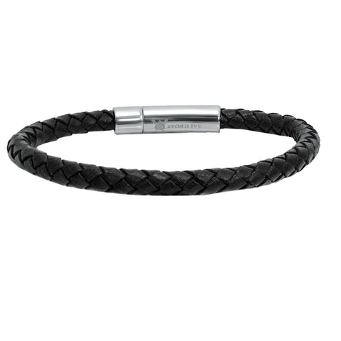 Oxford Ivy Braided Black Leather Mens Bracelet 6 mm 8 1/2 inches with Locking Stainless Steel Clasp