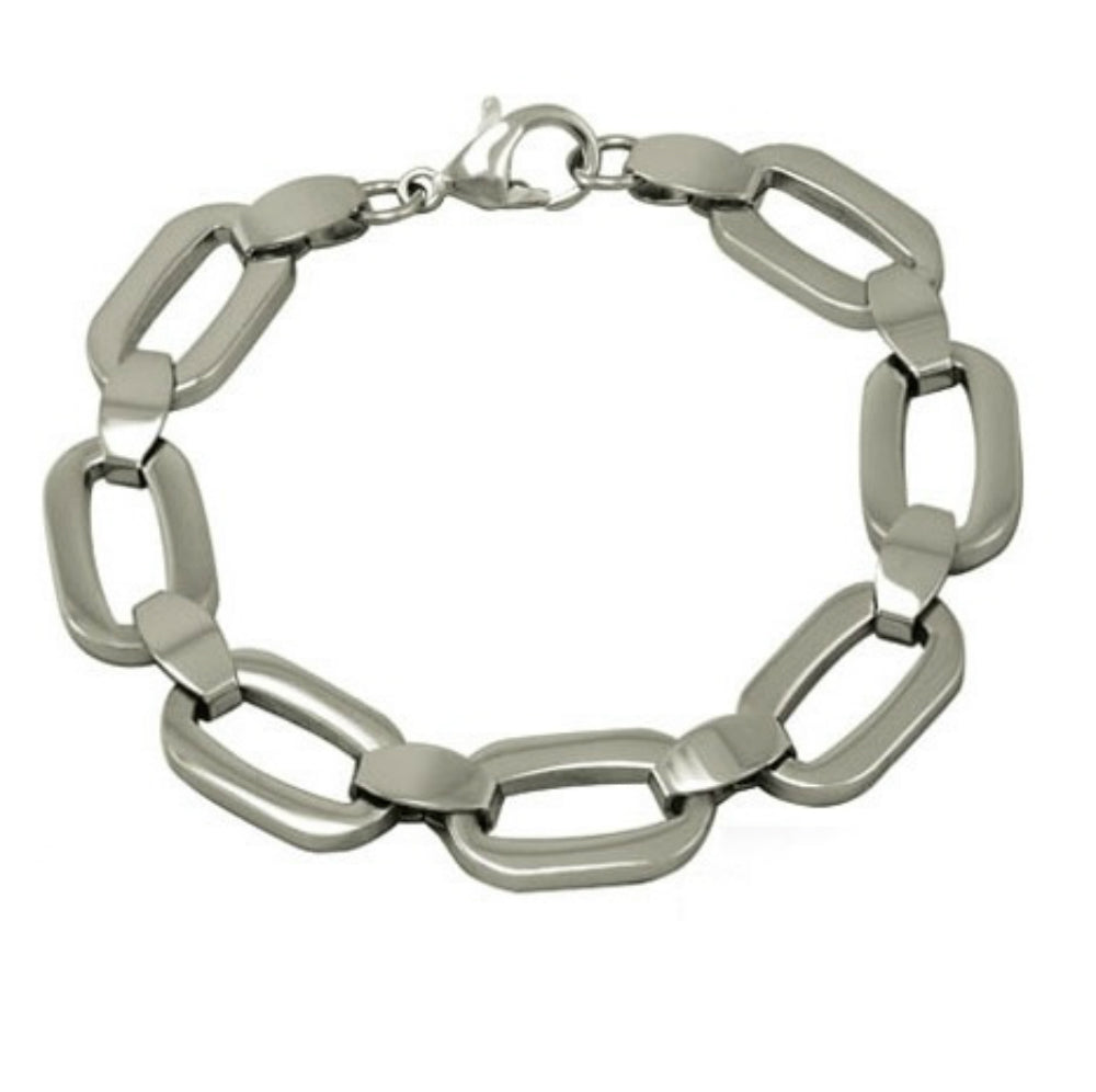 Ladies Fancy Link  Stainless Steel Bracelet 8 inch