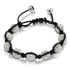 10mm Crystal Disco Ball Shamballa Bracelet Adjustable from 6 to 9 inches , Bracelets - MLG Jewelry, MLG Jewelry  - 2