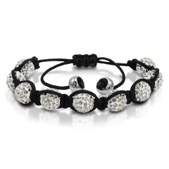 10mm Crystal Disco Ball Shamballa Bracelet Adjustable from 6 to 9 inches