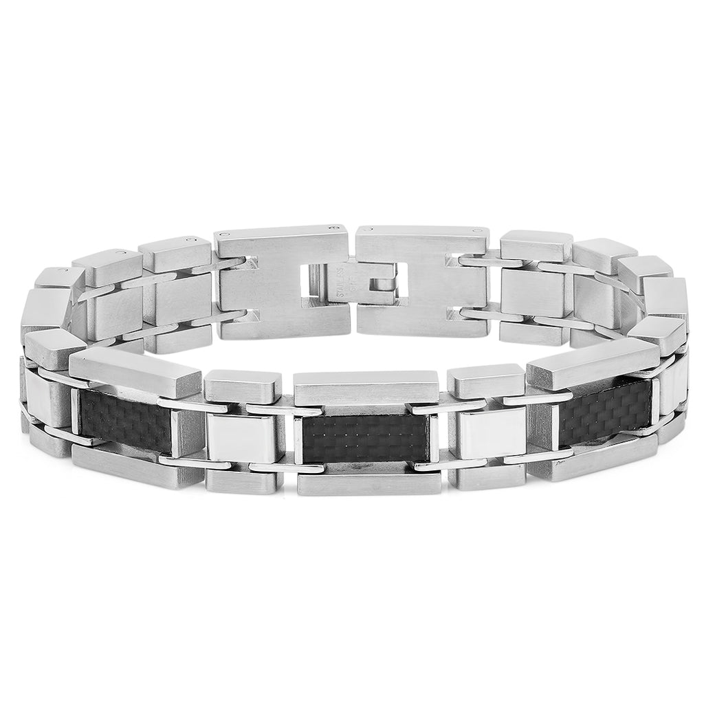 Oxford Ivy Mens Stainless Steel and Carbon Fiber Link Bracelet 8 1/4 inches