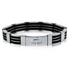 Men's Stainless Steel 3-Row Black Rubber Bracelet 8 1/4 inches