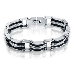 Oxford Ivy  Stainless Steel with Black Rubber Mens Chain Link Bracelet 8 inch , Bracelets - MLG Jewelry, MLG Jewelry  - 2