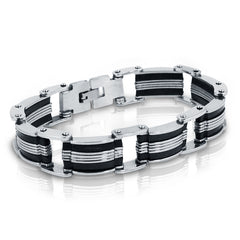 Oxford Ivy  Stainless Steel with Black Rubber Mens Chain Link Bracelet 8 inch , Bracelets - MLG Jewelry, MLG Jewelry  - 3