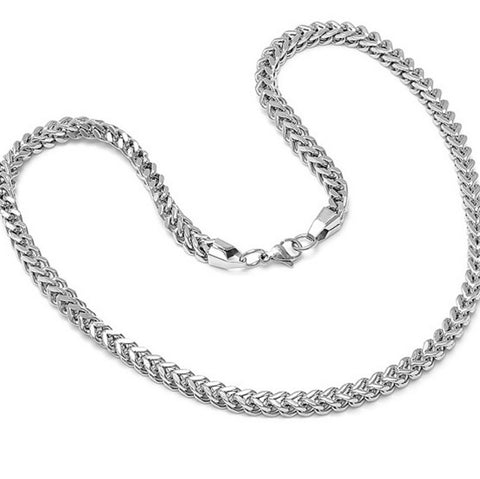 Mens Solid 22 inch Stainless Steel Silver Color Link Chain Necklace