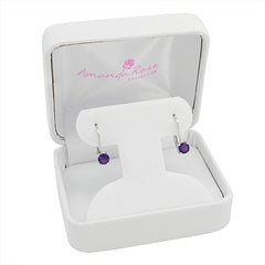 4mm Amethyst Lever back Earrings set in Sterling Silver