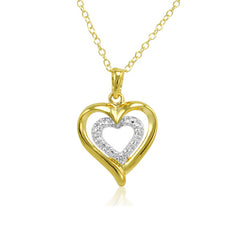 18K Yellow Gold Plated Sterling Silver Diamond Heart Pendant-Necklace on an 18in. Chain