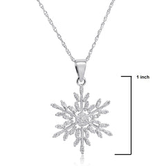 Diamond Accent Snowflake Pendant-Necklace in Sterling Silver , Pendants - MLG Jewelry, MLG Jewelry  - 2