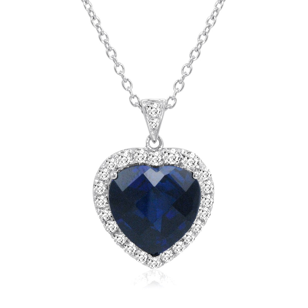 Sterling Silver Heart of the Ocean Created Blue and White Sapphire Pendant-Necklace ( 12ct tw)