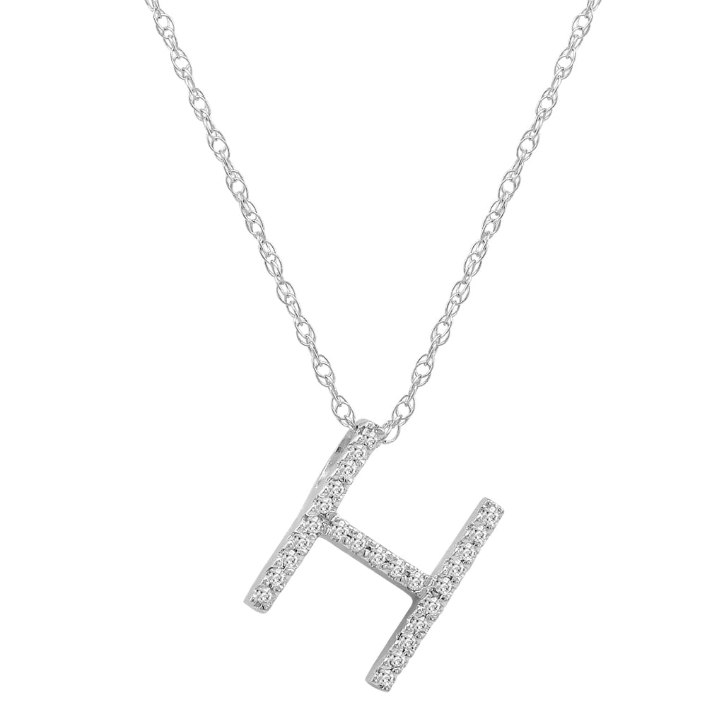 "14K White Gold Diamond ""H"" Initial Pendant, 16"" Necklace , Pendants - MLG Jewelry, MLG Jewelry  - 1"