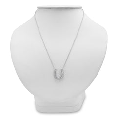 Sterling Silver and Diamond Horseshoe Necklace (1/10ct tw 16 inches) , Pendants - MLG Jewelry, MLG Jewelry  - 3
