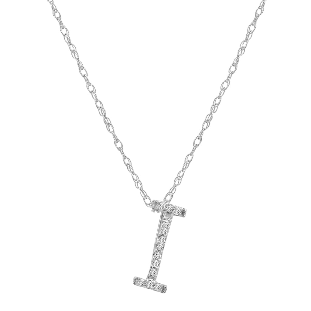"14K White Gold Diamond ""I"" Initial Pendant on a 16 inch chain , Pendants - MLG Jewelry, MLG Jewelry  - 1"
