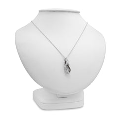 Black and White Diamond Infinity Pendant-Necklace in Sterling Silver