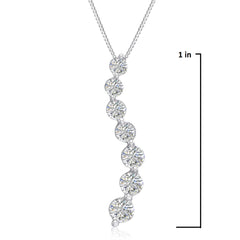 AGS Certified 1ct TW Journey Diamond Pendant-Necklace in 14K White Gold